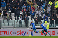 1st December 2019; Allianz Stadium, Turin, Italy; Serie A Football, Juventus versus Sassuolo; Francesco Caputo of Sassuolo celebrates after scoring his goal in the 47th minute for 1-2 - Editorial Use
