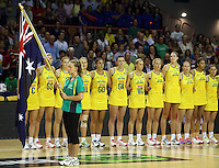 17.10.2012 Australia in action during the Australia v South Africa netball test match as part of the Quad Series played in Newcastle Australia. Mandatory Photo Credit ©Michael Bradley.