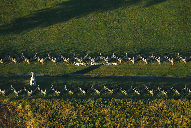 Aerial view of Bloody Lane or Sunken Road, Antietam Battlefield, Sharpsburg, MD