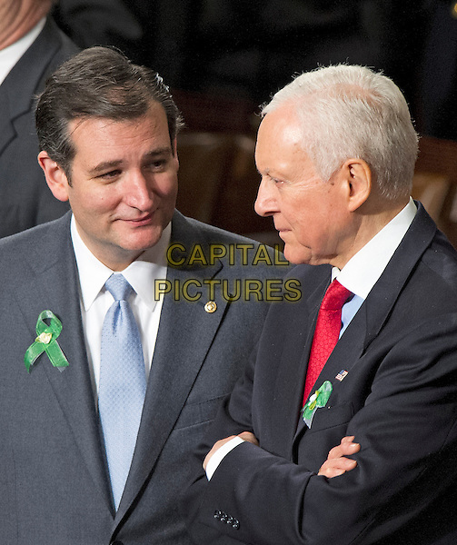 United States Senators Ted Cruz (Republican of Texas), left and Orrin Hatch (Republican of Utah), right, on the floor of the U.S. House prior to U.S. President Barack Obama delivering his State of the Union Address to a Joint Session of Congress in the U.S. Capitol on Tuesday, February 12, 2013. .half length .CAP/ADM/CNP/RS.©Ron Sachs/CNP/AdMedia/Capital Pictures.