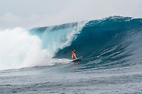 Namotu Island Resort, Nadi, Fiji (Monday, May 22 2017): Courtney Conlogue (USA) - The wind  this morning was light from the South South East with high tide around 3.30pm.  The swell had jumped overnight and continued to build through the day. Cloudbreak had 10' plus faces and was barreling through the inside ,especially around the 9.30 low tide. A big group of pro surfers, both male and female, were surfing Cloudbreak in preparation for the OK Fiji Pro which begins on Saturday. Guests surfed Cloudbreak and Lefts.   The fishing crew returned with a catch of Ruby Snapper. Photo: joliphotos.com