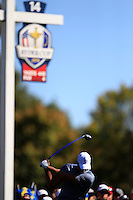 Henrik Stenson (SWE) (Team Europe) on the 14th tee during Sunday Singles matches at the Ryder Cup, Hazeltine National Golf Club, Chaska, Minnesota, USA.  02/10/2016<br /> Picture: Golffile   Fran Caffrey<br /> <br /> <br /> All photo usage must carry mandatory copyright credit (&copy; Golffile   Fran Caffrey)
