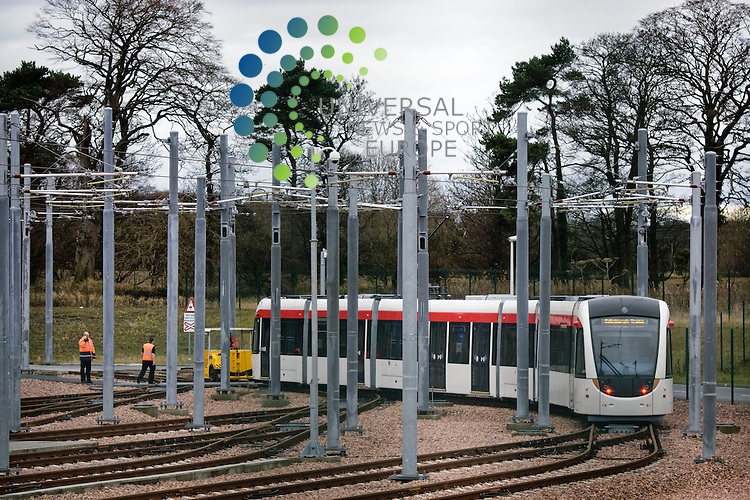 The overhead power lines for the tram between the Gogar Deport and Edinburgh Airport have been switched on. Once the commissioning of the tram system has reached a satisfactory stage, trams will be tested on the test track between the Gogar Depot and Edinburgh Airport..Picture: Pavol Mraz/Universal News And Sport (Scotland). 26/ November2012.