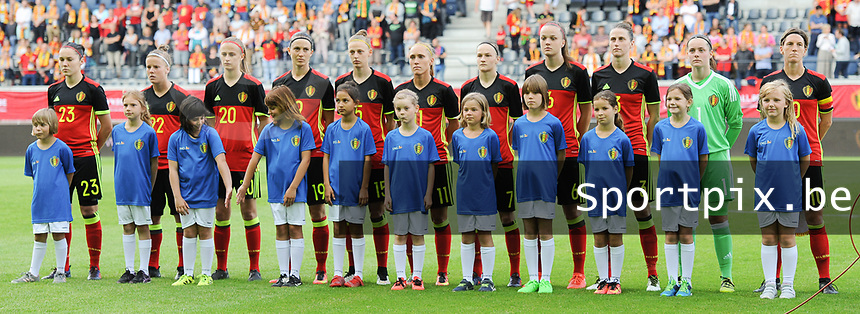 20170613 - LEUVEN ,  BELGIUM : Belgian team pictured during the female soccer game between the Belgian Red Flames and Japan , a friendly game before the European Championship in The Netherlands 2017  , Tuesday 13 th Juin 2017 at Stadion Den Dreef  in Leuven , Belgium. PHOTO SPORTPIX.BE | DIRK VUYLSTEKE