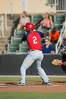 Wilman Rodriguez (2) of the Hagerstown Suns at bat against the Kannapolis Intimidators at Intimidators Stadium on July 18, 2015 in Kannapolis, North Carolina.  The Intimidators defeated the Suns 1-0.  (Brian Westerholt/Four Seam Images)