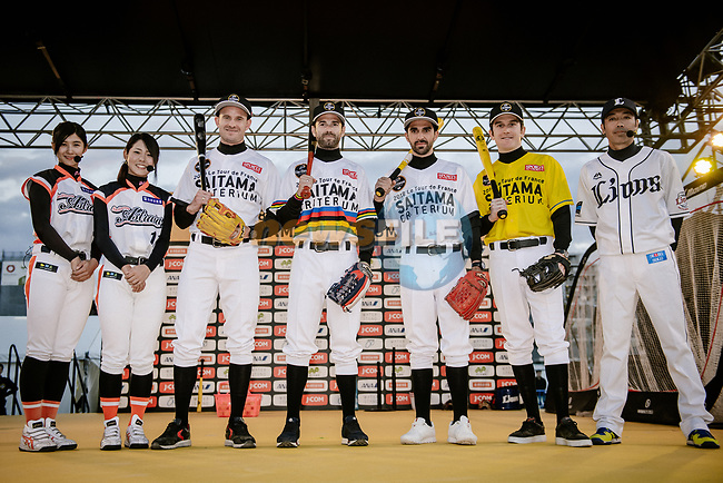Baseball skills time for Alexander Kristoff (NOR), World Champion Alejandro Valverde (ESP), Alberto Contador (ESP) and Tour de France Champion Geraint Thomas (WAL) at the media day before the 2018 Saitama Criterium, Japan. 3rd November 2018.<br /> Picture: ASO/Pauline Ballet | Cyclefile<br /> <br /> <br /> All photos usage must carry mandatory copyright credit (© Cyclefile | ASO/Pauline Ballet)