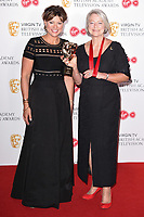 Kate Silverton and Kate Adie in the winners room for the BAFTA TV Awards 2018 at the Royal Festival Hall, London, UK. <br /> 13 May  2018<br /> Picture: Steve Vas/Featureflash/SilverHub 0208 004 5359 sales@silverhubmedia.com