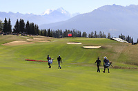 Benjamin Hebert (FRA) and Andy Sullivan (ENG) walk down the 7th hole during Saturday's Round 3 of the 2018 Omega European Masters, held at the Golf Club Crans-Sur-Sierre, Crans Montana, Switzerland. 8th September 2018.<br /> Picture: Eoin Clarke | Golffile<br /> <br /> <br /> All photos usage must carry mandatory copyright credit (&copy; Golffile | Eoin Clarke)