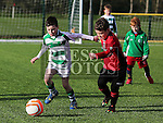 Dylan Kirwan (Walshestown) and Daniel Matthews (Termonfeckin) at the Walshestown V Termonfeckin U9 at Walshestown All Weather.<br /> <br /> Photo - Jenny Matthews