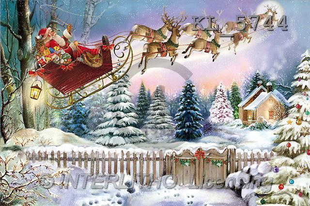 Interlitho, Patricia, CHRISTMAS SANTA, SNOWMAN, paintings, santa, flying, fence(KL5744,#X#) Weihnachtsmänner, Schneemänner, Weihnachen, Papá Noel, muñecos de nieve, Navidad, illustrations, pinturas