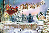 Interlitho, Patricia, CHRISTMAS SANTA, SNOWMAN, paintings, santa, flying, fence(KL5744,#X#) Weihnachtsmänner, Schneemänner, Weihnachen, Papá Noel, muñecos de nieve, Navidad, illustrations, pinturas