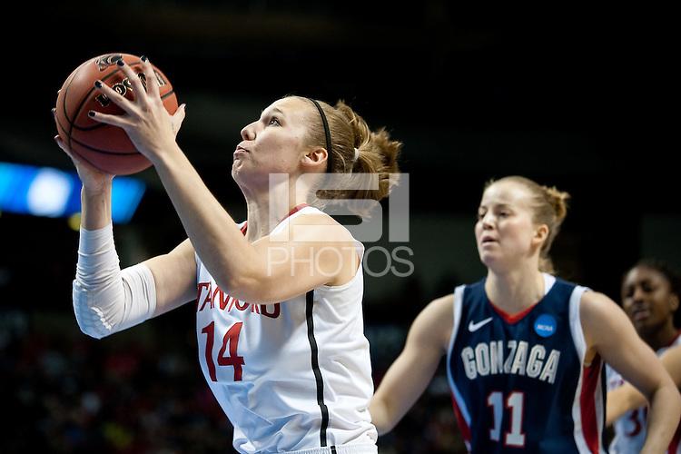 SPOKANE, WA - MARCH 28, 2011: Kayla Pedersen, Stanford Women's Basketball vs Gonzaga, NCAA West Regional Finals at the Spokane Arena on March 28, 2011.
