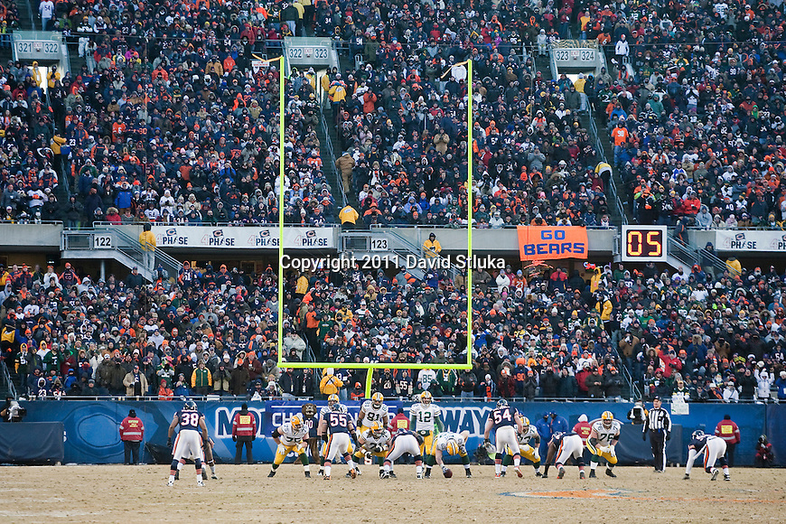 A general view of Soldier Field from field level during the Chicago Bears NFC Championship NFL football game against the Green Bay Packers in Chicago on January 23, 2011. The Packers won 21-14. (AP Photo/David Stluka)