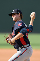 Relief pitcher Taylor Lewis (46) of the Rome Braves delivers a pitch in a game against the Greenville Drive on Sunday, August 13, 2017, at Fluor Field at the West End in Greenville, South Carolina. Greenville won, 2-1. (Tom Priddy/Four Seam Images)