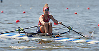 Brandenburg. GERMANY.<br /> NED W1X. Karien ROBBERS,  at the start of her heat at the 2016 European Rowing Championships at the Regattastrecke Beetzsee<br /> <br /> Friday  06/05/2016<br /> <br /> [Mandatory Credit; Peter SPURRIER/Intersport-images]