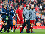 24th March 2018, Anfield, Liverpool, England; LFC Foundation Legends Charity Match 2018, Liverpool Legends versus FC Bayern Legends; Liverpool Legends strikers John Aldridge, Michael Owen and player-manager Ian Rush at the end of the game