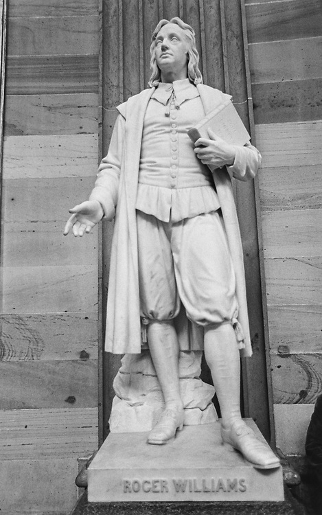 Statue of Roger Williams R.I., in February 1997. (Photo by Maureen Keating/CQ Roll Call via Getty Images)