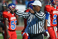 November 22, 2012  (Washington, DC)  Referee Liston Taylor officiated the 2012 DCIAA Turkey Bowl. Dunbar defeated Anacostia 12-8.  (Photo by Don Baxter/Media Images International)