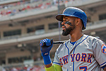 29 April 2017: New York Mets infielder Jose Reyes stands on deck during the second inning against the Washington Nationals at Nationals Park in Washington, DC. The Mets defeated the Nationals 5-3 to take the second game of their 3-game weekend series. Mandatory Credit: Ed Wolfstein Photo *** RAW (NEF) Image File Available ***