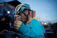 although he only finished 43rd Lars Boom (NLD/Astana) is still a media magnet after the race<br /> <br /> UCI Cyclocross World Cup Heusden-Zolder 2015