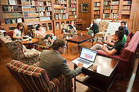 Occidental College faculty and staff take part in the Mellon Digital Scholarship Institute, a 5-day workshop centered in the library. The workshop intends to bring a small group of faculty together with postdoctoral scholars and college professional staff for an intense week of learning. August 9, 2010. (Photo by Marc Campos, Occidental College Photographer)