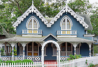 Gingerbread cottages, Oak Bluffs, Martha's Vineyard, Massachusetts, USA