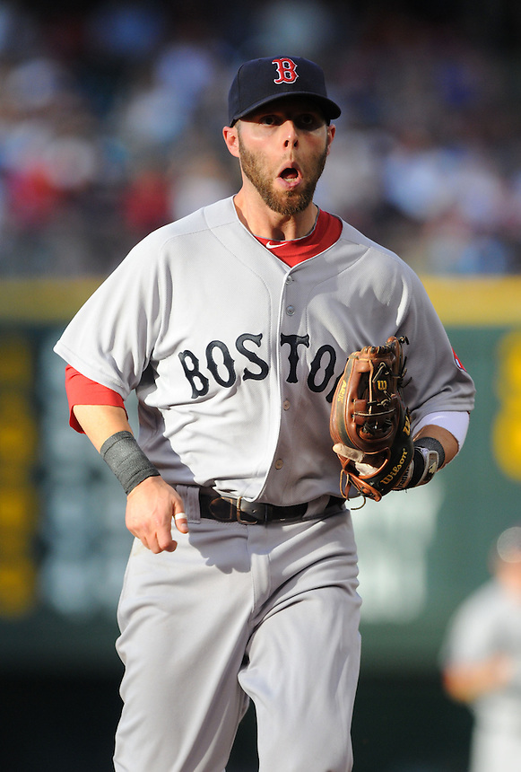 22 JUNE 2010: Boston Red Sox second baseman Dustin Pedroia during an interleague regular season Major League Baseball game between the Colorado Rockies and the Boston Red Sox at Coors Field in Denver, Colorado. The Rockies beat the Red Sox 2-1.  *****For Editorial Use Only*****