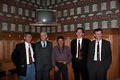London, England. Gatão with Simon Counsell, Tam Dalyell at the Houses of Parliament. 1989(?).