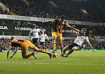 Tottenham's Jan Vertonghen tussles with Hull's Tom Huddlestone and Michael Dawson during the Premier League match at White Hart Lane Stadium, London. Picture date December 14th, 2016 Pic David Klein/Sportimage