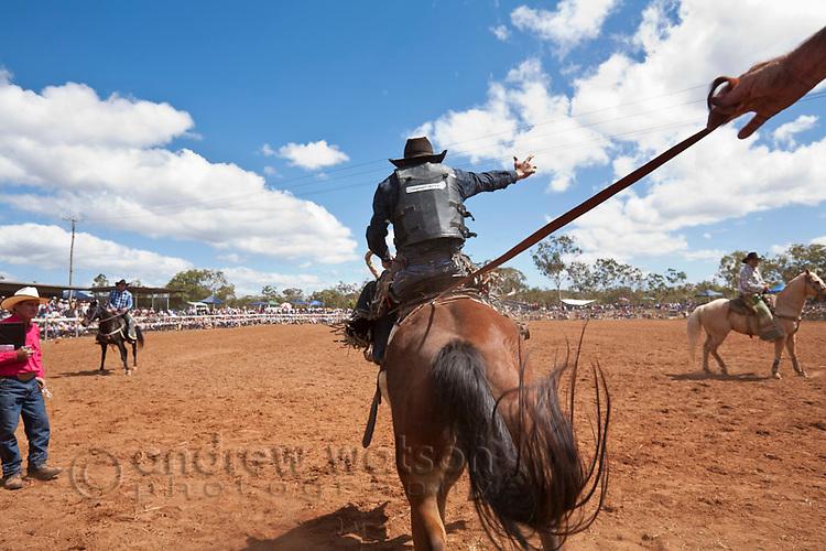 Saddle bronc rider in action at Mt Garnet Rodeo.  Mt Garnet, Queensland, Australia