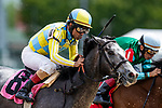 LOUISVILLE, KENTUCKY - MAY 02: Shaun Bridgmohan drives Enforceable during Thurby at Churchill Downs in Louisville, Kentucky on May 02, 2019. Evers/Eclipse Sportswire/CSM
