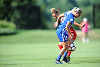 Boyds, MD - Saturday August 12, 2017: Estelle Johnson, Adriana Leon during a regular season National Women's Soccer League (NWSL) match between the Washington Spirit and The Boston Breakers at Maureen Hendricks Field, Maryland SoccerPlex.
