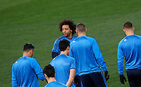 Real Madrid's Marcelo arrives with his teammates for a practice session ahead of the Champions League round of 16 first leg football match against Roma, at Rome's Olympic stadium, 16 February 2016.<br /> UPDATE IMAGES PRESS/Riccardo De Luca