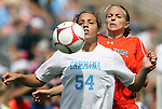 20 September 2009: North Carolina's Casey Nogueira (54) and Auburn's Stephanie Fransoso (behind). The University of North Carolina Tar Heels played the Auburn University Tigers to a 0-0 tie after overtime at Koskinen Stadium in Durham, North Carolina in an NCAA Division I Women's college soccer game.