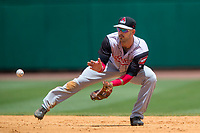NWA Democrat-Gazette/JASON IVESTER<br /> Arkansas Travelers second baseman Jeff Kobernus fields a ball Tuesday, June 13, 2017, against the Northwest Arkansas Naturals at Arvest Ballpark in Springdale.