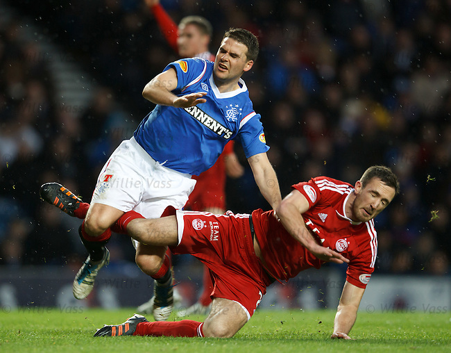 David Healy suffers a sore challenge from Aberdeen's Rory McArdle
