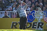 Straffan Co Kildare Ireland. K Club Ryder Cup..American Ryder cup team member Chris Di Marco on the 1st tee box on the  opening fourball session on the first day of the 2006 Ryder Cup, at the K Club in Straffan, Co Kildare, Ireland, 22 September 2006..Photo: Eoin Clarke/ Newsfile