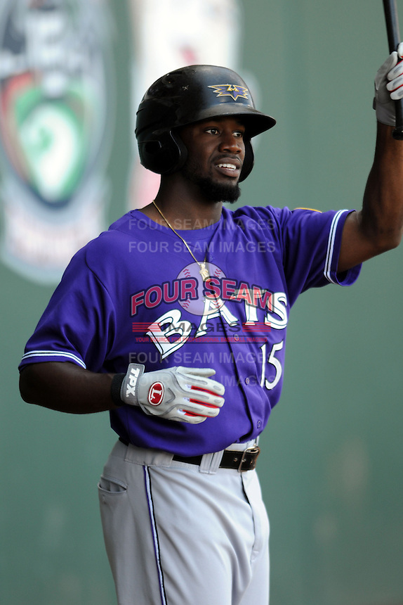 Louisville Bats outfielder Derrick Robinson #15 during a game versus the Pawtucket Red Sox at McCoy Stadium in Pawtucket, Rhode Island on August 14, 2013.  (Ken Babbitt/Four Seam Images)