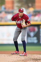 Lehigh Valley Iron Pigs starting pitcher Zach Eflin (16) looks to his catcher for the sign against the Charlotte Knights at BB&T BallPark on June 3, 2016 in Charlotte, North Carolina.  The Iron Pigs defeated the Knights 6-4.  (Brian Westerholt/Four Seam Images)