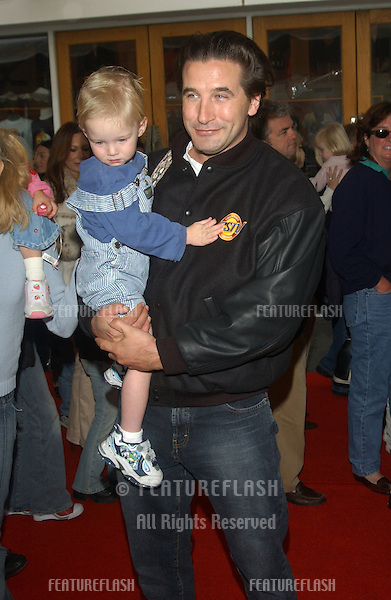 Actor WILLIAM BALDWIN & son at the world premiere, in Hollywood, of Dr. Suess' The Cat in the Hat..November 8, 2003