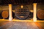 """El Cristo"" oak sherry barrel commemorating 1862 royal visit  Gonzalez Byass bodega, Jerez de la Frontera, Cadiz province, Spain"