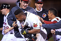 Rochester Red Wings left fielder Adam Walker (30) is mobbed by teammates after a walk off base hit during a game against the Columbus Clippers on June 14, 2016 at Frontier Field in Rochester, New York.  Rochester defeated Columbus 1-0.  (Mike Janes/Four Seam Images)