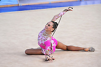 Liubov Charkashyna of Belarus performs with rope at 2010 Holon Grand Prix at Holon, Israel on September 4, 2010.  (Photo by Tom Theobald).