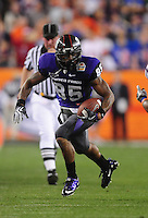Jan. 4, 2010; Glendale, AZ, USA; TCU Horned Frogs wide receiver (85) Jeremy Kerley against the Boise State Broncos in the 2010 Fiesta Bowl at University of Phoenix Stadium. Boise State defeated TCU 17-10. Mandatory Credit: Mark J. Rebilas-