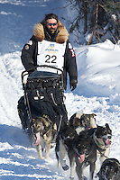 Mike Santos on Long Lake at the Re-Start of the 2012 Iditarod Sled Dog Race