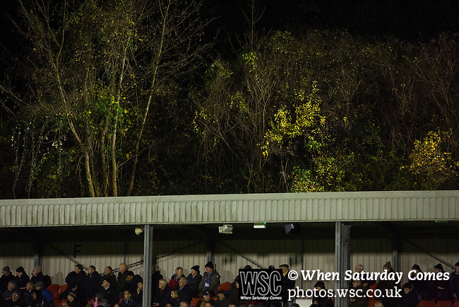 Dover Athletic 2 Cambridge United 4, 17/11/2016. The Crabble, FA Cup first round replay. Home fans in the main stand watching the second-half action at the Crabble as National League Dover Athletic (in white) hosted League 2 Cambridge United in an FA Cup first round replay. The club was founded in 1983 after the dissolution of the town's previous club Dover FC, whose place in the Southern League was taken by the new club. Cambridge United won the tie by 4-2 after extra time, watched by a crowd of 1158. Photo by Colin McPherson.