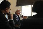 Palestinian Chief Negotiator Saeb Erekat, leads a meeting with his staff at the Negotiations Affairs Department in Ramallah, West Bank.<br /> <br /> Photo by Ahikam Seri