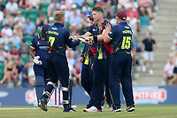 Jimmy Neesham of Kent is congratulated by his team mates after taking the wicket of Tom Westley during Kent Spitfires vs Essex Eagles, NatWest T20 Blast Cricket at The County Ground on 9th July 2017