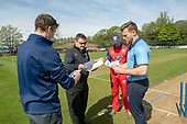 Regional Series - Knights V Warriors - Grange CC - Captains swaps team lines ahead of the toss - picture by Donald MacLeod - 28.04.19 - 07702 319 738 - clanmacleod@btinternet.com - www.donald-macleod.com