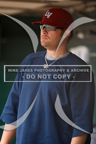 May 28, 2009:  Lehigh Valley IronPigs Pitcher Andrew Carpenter looks on from the dugout during a game vs. the Buffalo Bisons at Coca-Cola Field in Buffalo, NY.  The IronPigs are the International League Triple-A affiliate of the Philadelphia Phillies.  Photo by:  Mike Janes/Four Seam Images